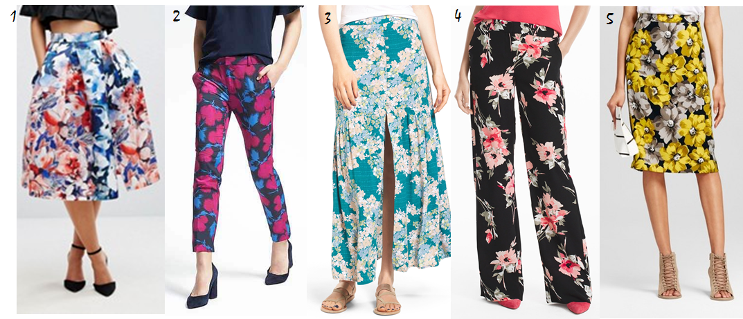 spring 2017 floral pants and skirts