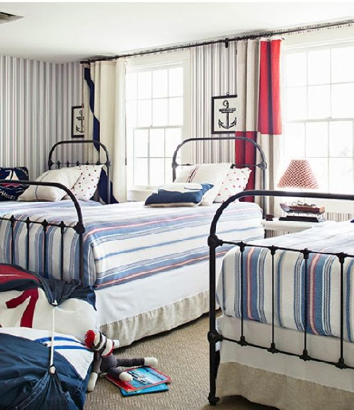 nautical red white and blue bedroom